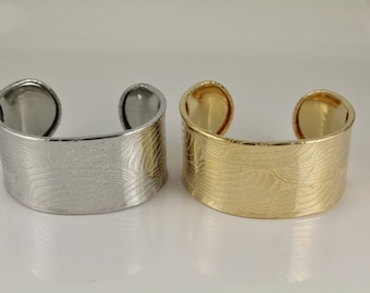 "shiny Gold or Silver cuff bracelet textured swirl pattern metal bangle 1 5/16"" wide"
