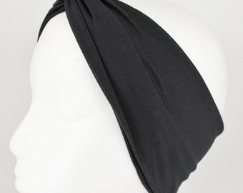 "Black turban twist headband knot fabric stretch headband turband hair head band 3.5"" wide"