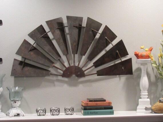 36 Inch Solid Steel Rustic Half Windmill Wall Decor Vintage