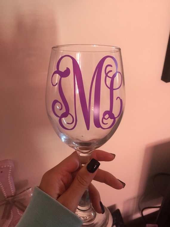 monogram wine glasses