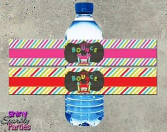 BOUNCE HOUSE WATER Bottle Labels - Bounce House Labels - Bounce House Water Wraps - bottle wrappers - bouncey party - jump house boy or girl