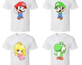 Super Mario Bros. - Choose a Character - Cute White T-Shirt