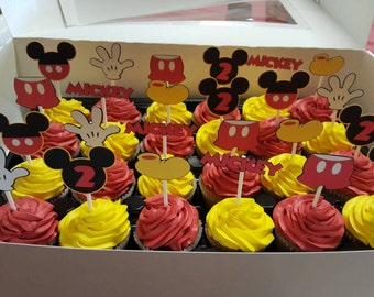 Mickey Mouse cupcake toppers. Mickey head, glove, shoes, and pants. Mickey Mouse party decor.