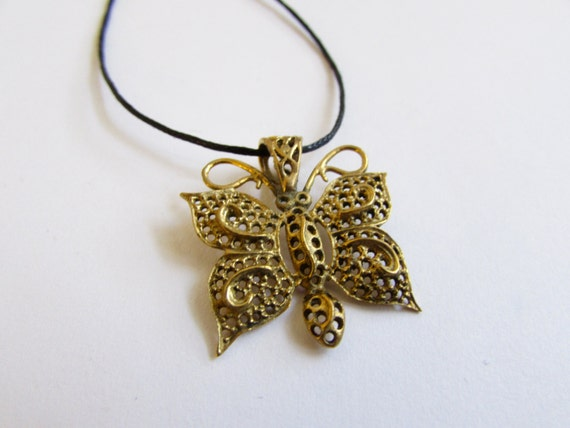 Butterfly pendant on Wax Cord  Adjustable  Unisex Free UK Shipping + Gift Bag CH3