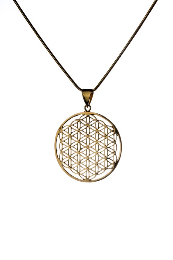 Flower of Life Brass Pendant Necklace Spiritual jewellery Yogi Jewellery Geometry Handmade Free UK delivery Gift Boxed + Gift Bag BP3