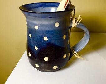 Sgraffito polka dots mug