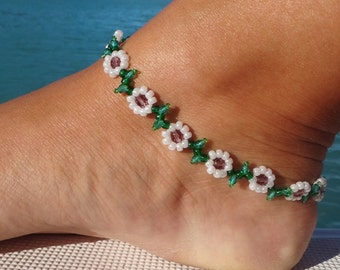 Flower Chain Anklet - Daisy Ankle Bracelet - Beaded Jewelry