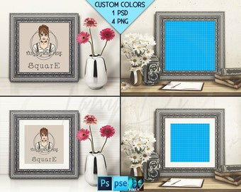 Square #T03 Ornate 10x10 Silver Matted Unmatted Frame on Table & Camera Daisies, 4 Print Display Mockups, PNG PSD PSE, 25x25cm Custom colors
