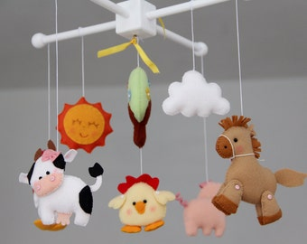 Baby Crib Mobile ,Farm Friends-Lovely Farm -Baby Girl Mobile, Mobile Nursery farm Animals