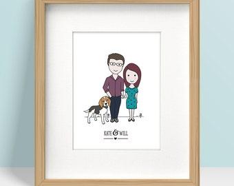 Framed Custom Portrait, Couple, Family Portrait, Valentines Day Gift