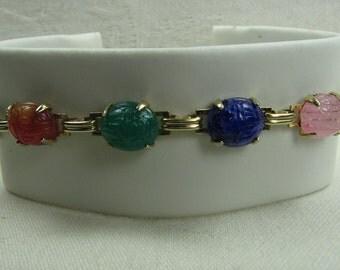 Vintage Scarab Bracelet, Gold Tone Links, Faux Gemstones