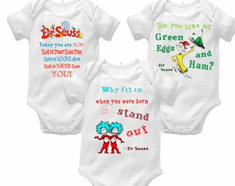 Dr Seuss personalized shirt onesie you choose One Fish Cat in the Hat Green Eggs and Ham Birthday shirt onesie
