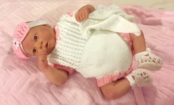 Baby Knitting Pattern  Romper, Cardi, Shoes and Hairband Prem size