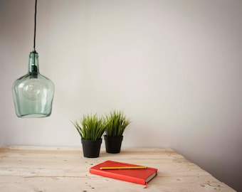 ceiling lamp - pendant lamp - eco-design - recycled glass - bottle lamp - damajuana - lamp recycled by VERDE BOTELLA
