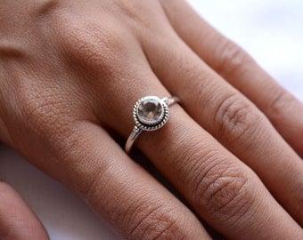 Smoky Quartz Sterling Silver Ring, Stacking Ring, Birthstone Ring, 925 Silver Ring, Natural Gemstone Rings - SKU 021