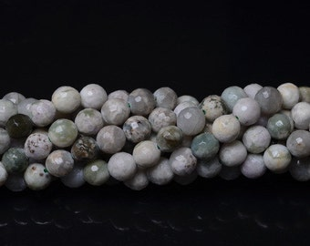"""Natural Peace Jade or Yellow Jade 8 mm faceted round bead 14-2/3"""" strand (#J1066, J1068)"""