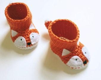 Animal Fox Baby Booties - Fox Shoes - Crochet Baby Shoes - Fox Baby Shower Gift - Fox Newborn Photo Prop - Gender Neutral Baby Gift