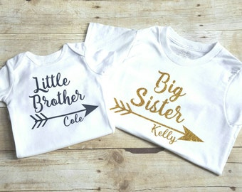 Personalized Big sister, little brother shirts, sibling shirt
