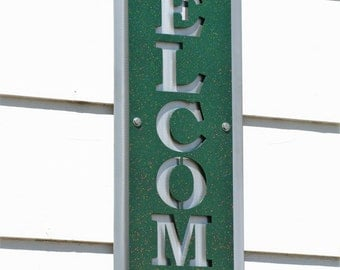 Vertical WELCOME Sign, modern welcome, layered metal welcome, entryway welcome, welcome to our home, outdoor welcome sign, green welcome
