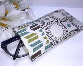 Glasses Case, Eyeglass Case, Taupe, Teal, Chevrons, Tribal Modern, Glasses Pouch, Slip Style, Sunglasses Case, Premium Designer Fabric