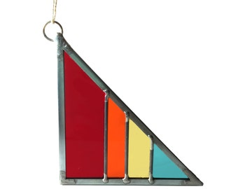 Red Rainbow Stained Glass Triangle - Debbie Bean