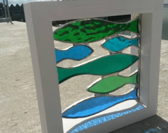 "Beautiful Small Framed Stained Glass Shoal of Green & Blue ""Sprats"" Fish"