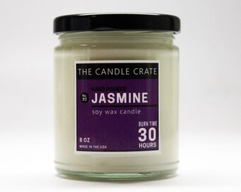 Jasmine Scented 8 Ounce Soy Wax Container Eco Friendly Highly Scented Hand Poured Candle