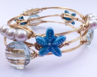 Blue starfish bangle bracelet, beach wire wrapped bracelet, summer bracelet, starfish bracelet