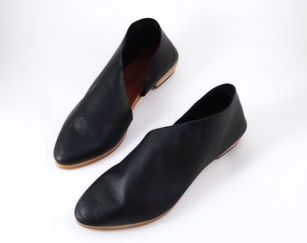 The Sandy BVT~ Classic Black Flats~ Handmade Shoes