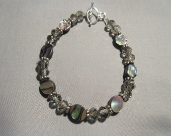 Genuine Abalone with Sterling Silver and Grey Glass Beaded Bracelet