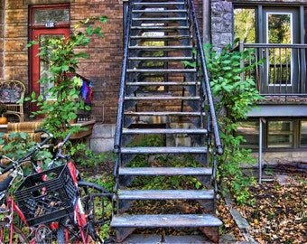 Montreal Photography, Urban Living Print, Rusty Stairs, Rusted Bannisters, St. Denis Street, Wall Art, Urban Decor, Rustic Wall Art, Grunge