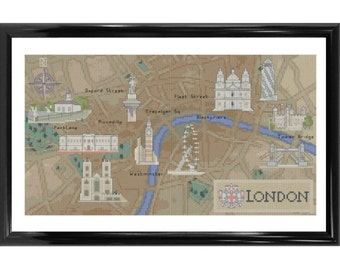 Map of London - Counted Cross Stitch Kit