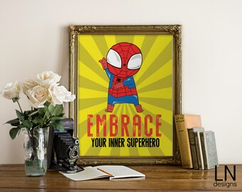 Instant 'Embrace your inner Superhero' Spiderman Superhero Boys Printable Wall Nursery Art Home Decor Printable