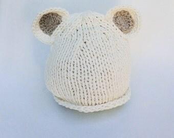 Knit Teddy Bear Hat, Newborn Cream Soft Organic Cotton Teddy Bear Beanie, Baby Beanie in Butte Milk Cotton, Newborn Photo Prop.