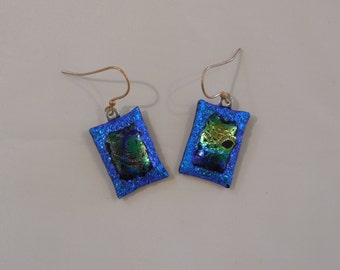 Stunning Layered Dicroic Fused Glass Earrings