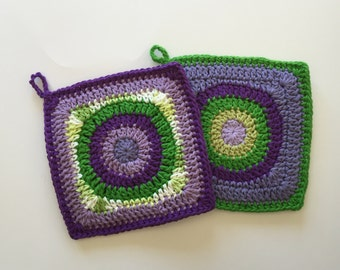 Set of 2, Handmade, Purple and Green, Double Thick, Crochet Potholders