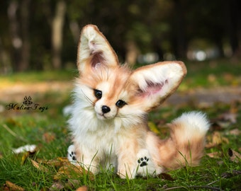 CUSTOM ORDER!Handmade Poseable toy Fennec Fox.Fox plush .Stuffed fox.Fox toy.Fox Soft Sculpture.Stuffed toy.Plush toy.