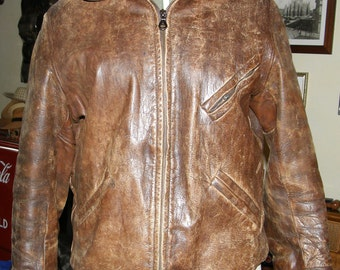 Vintage 1930 30s 1940 40s Amazing Original Aviator leather jacket deco design motorcycle