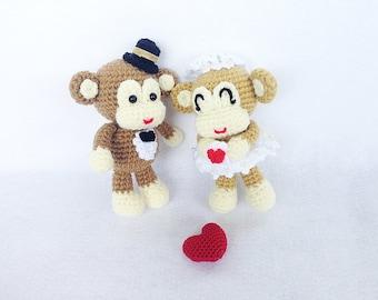 Cake Toppers - Monkey Wedding Cake Topper - Monkey Cake Topper - Wedding Cake Topper - Bride and Groom Cake Topper - Crochet Cake Topper