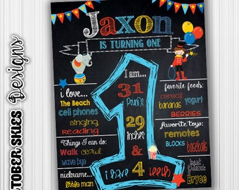 Circus Birthday Chalkboard, Carnival Them, Custom, Milestone, Announcement, Birthday Sign, Digital