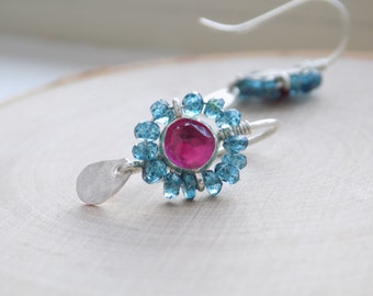ruby london blue topaz silver earrings