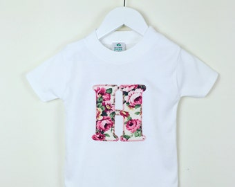 Girls personalised T shirt with vintage floral motif, pretty girls personalised t shirt by Two little peas and me