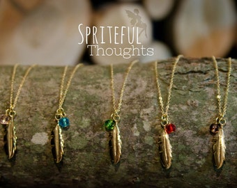 Feather Charm Necklace, Gold Feather, Gold Charm Necklace