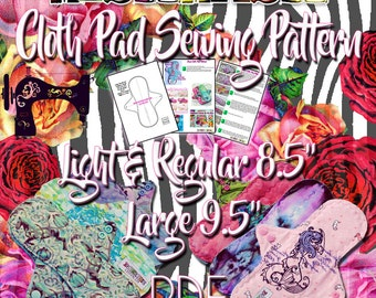 """Mishmash Cloth Pad Sewing Pattern and tutorial PDF in size Light, Regular 8.5"""" and Large 9.5"""" Instant Digital Download"""