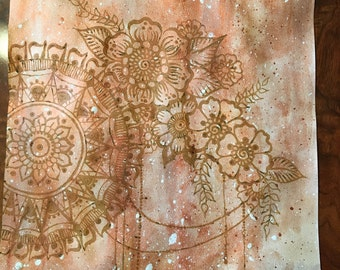 Large original Watercolor and Henna on water color paper