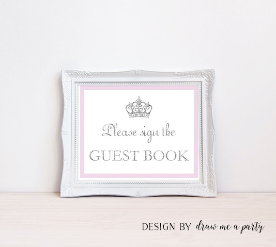 Baby Shower Guest Book Sign ~ Purple guest book sign princess baby shower