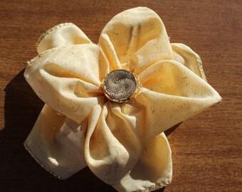 Golden Fabric Flower Clip