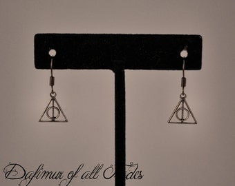 Earrings Harry Potter Deathly Hallows symbol Elder Wand Invisibility Cloak Resurrection Stone