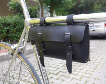 Free Shipping - Leather Bicycle Bag -  Leather Bag - Bike bag -Crossbar Bag, Black