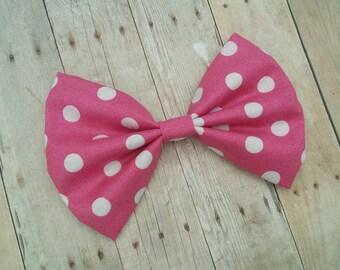Hot Pink & White Polka Dot Hair Bow Clip or Headband / Polka Dot Hair Bow / Pink Polka Dot Hair Clip /Pink Bow Clip / Hot Pink Polka Dot Bow